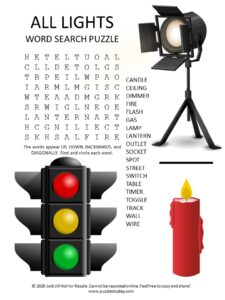 lights word search puzzle