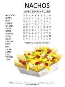 nachos word search puzzle