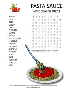 pasta sauce word search Puzzle