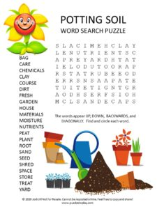 potting soil word search puzzle
