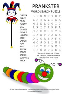 prankster word search puzzle