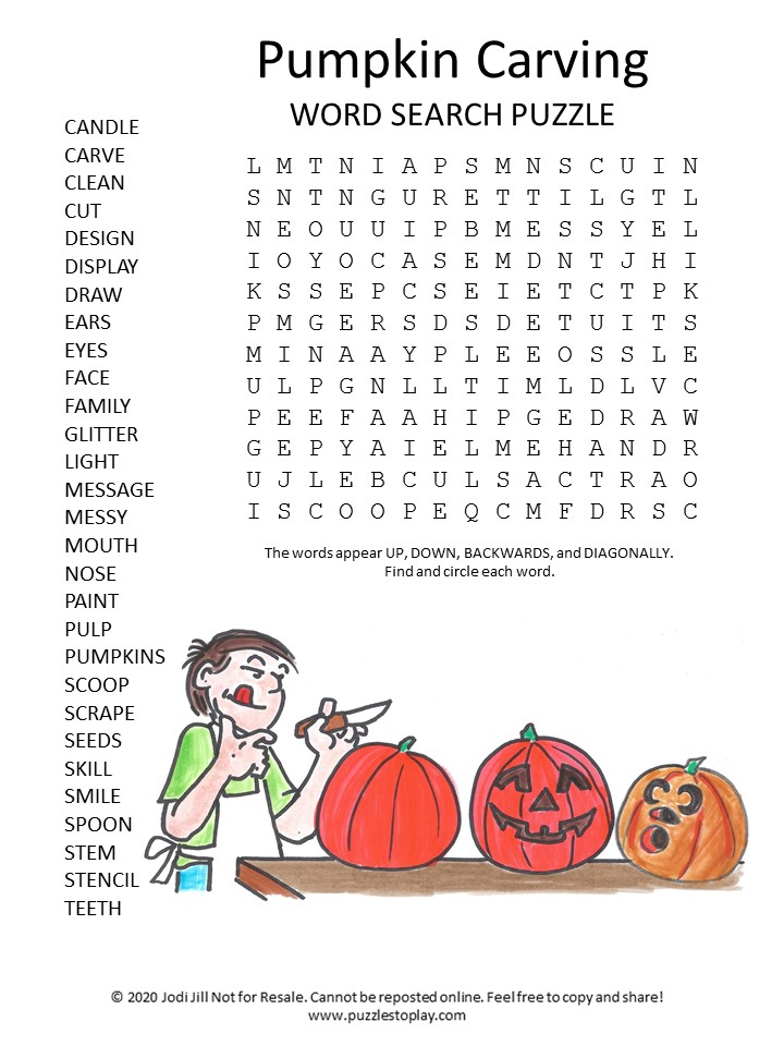 pumpkin carving word search puzzle