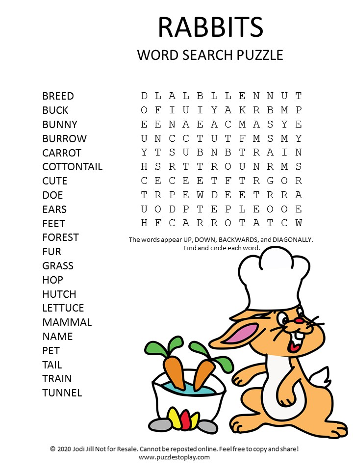 rabbit word search puzzle