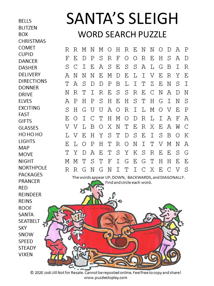 santa's sleigh word search puzzle