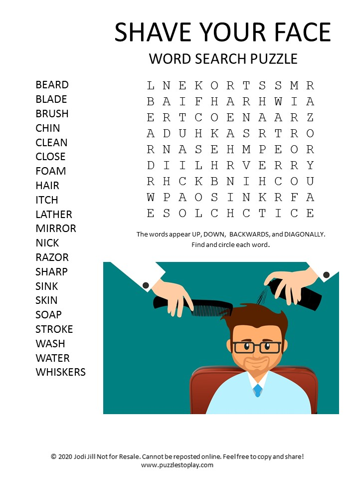 shave your face word search puzzle