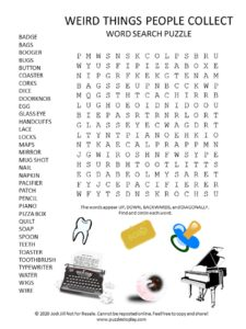 things people collect word search puzzle