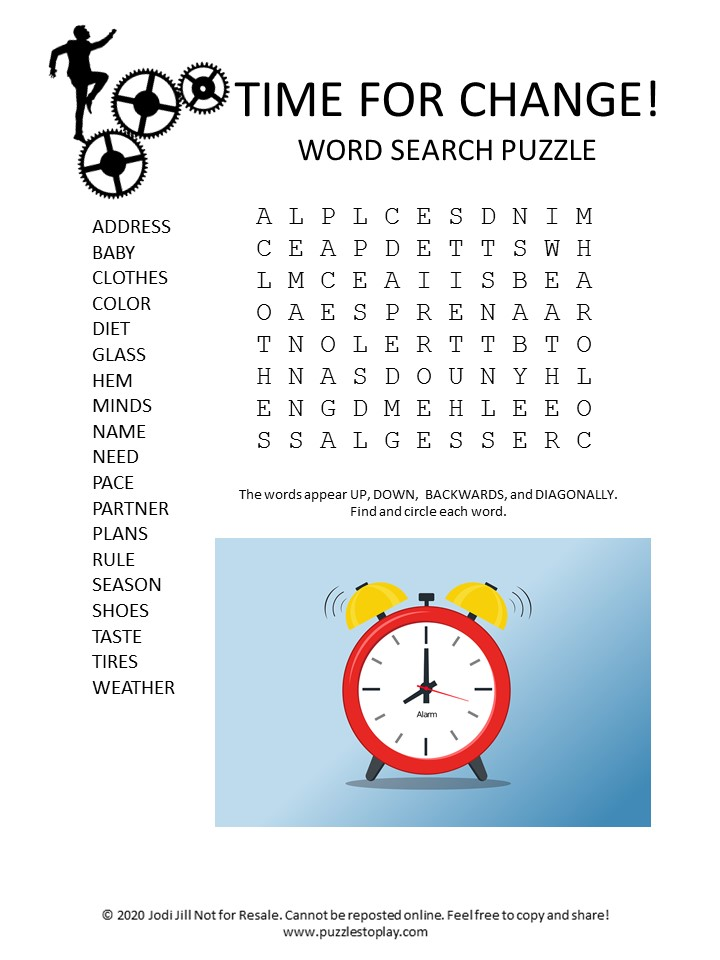 time for change word search puzzle