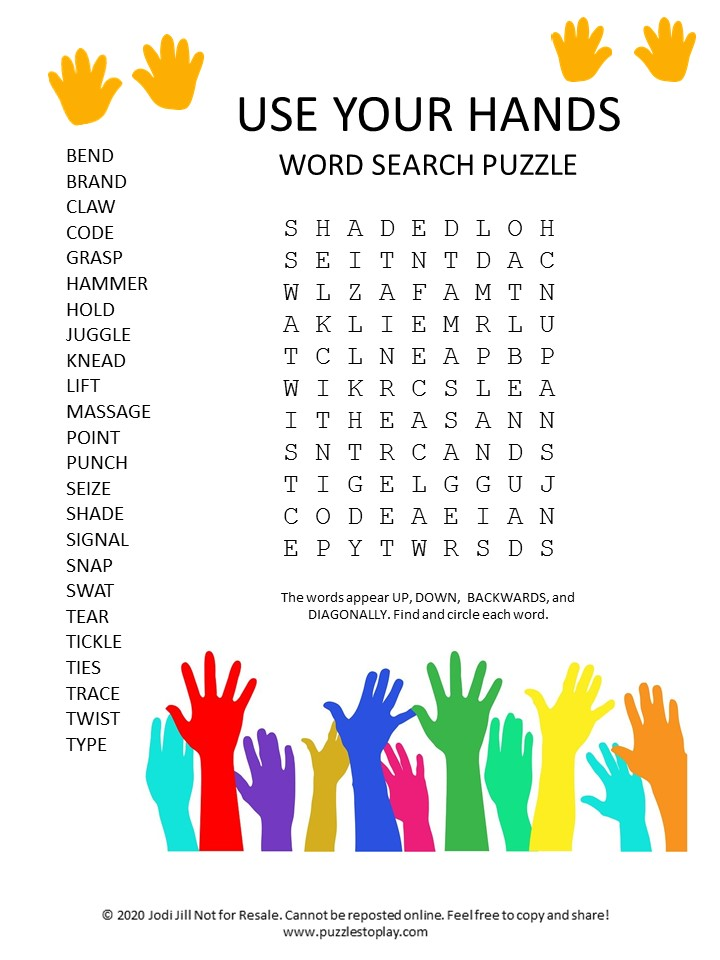 use your hands word search puzzle