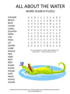 water word search puzzle