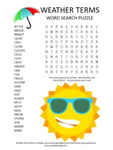 weather terms word search puzzle