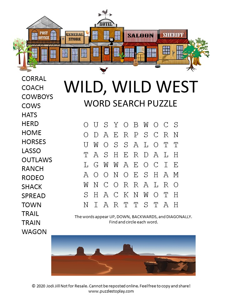 wild wild west word search puzzle