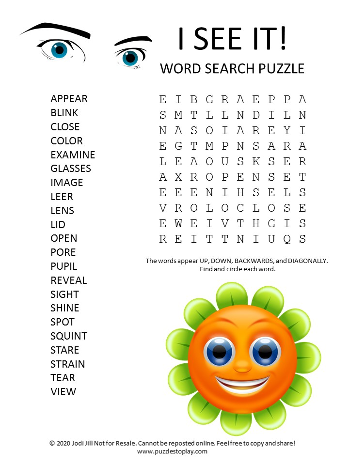 I see it word search puzzle