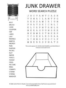 Junk drawer word search puzzle