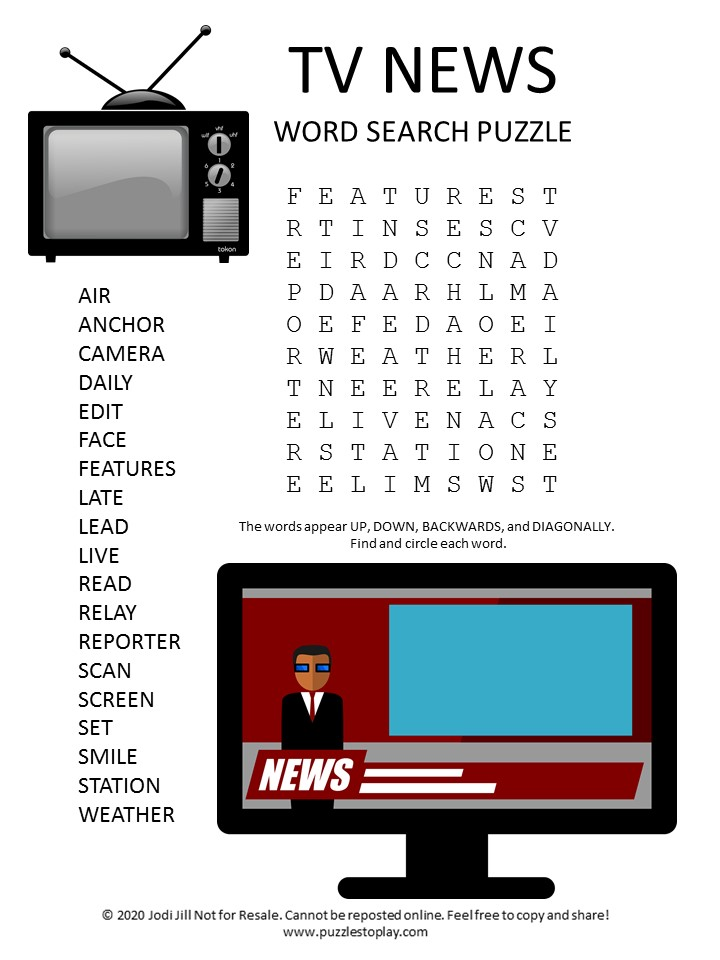 TV News word search puzzle