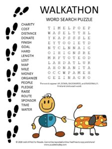 WALKATHON word search puzzle