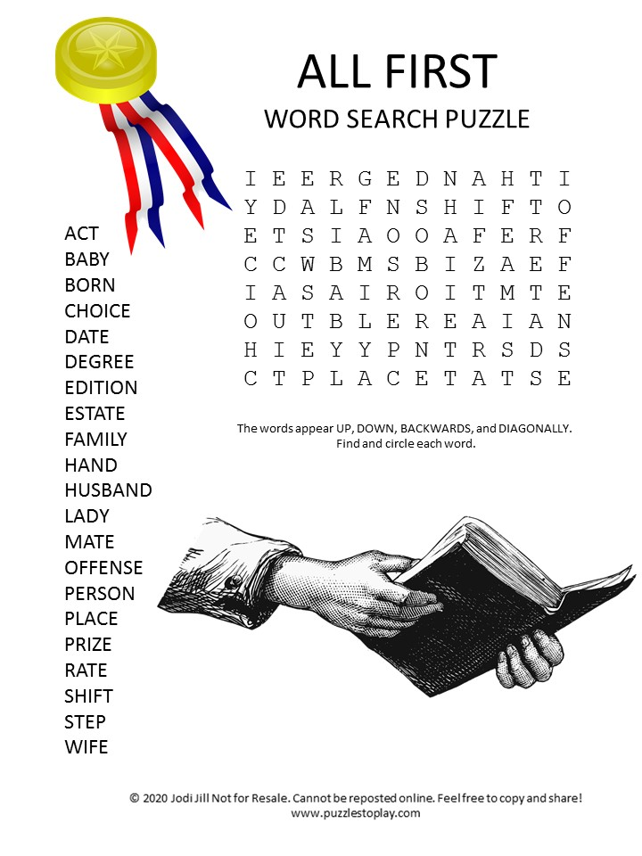 all first word search puzzle