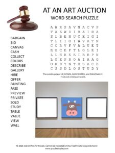 art auction word search puzzle