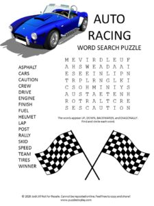 auto racing word search puzzle