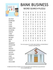 bank business word search puzzle
