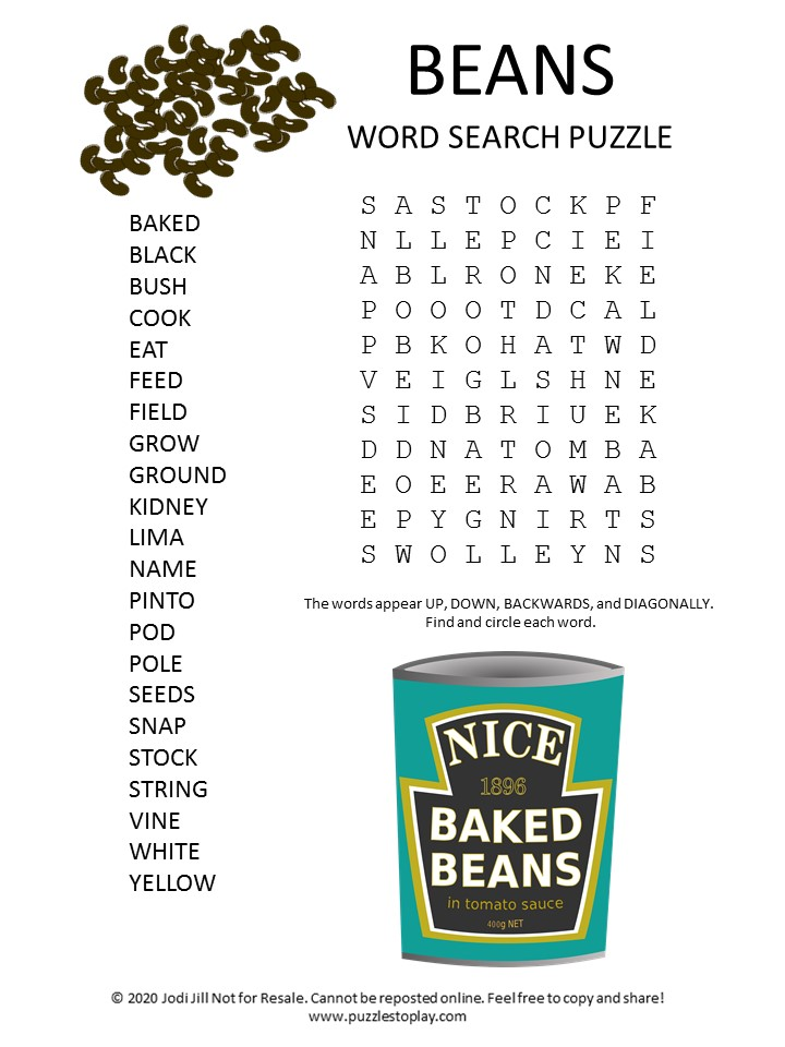 beans word search puzzle