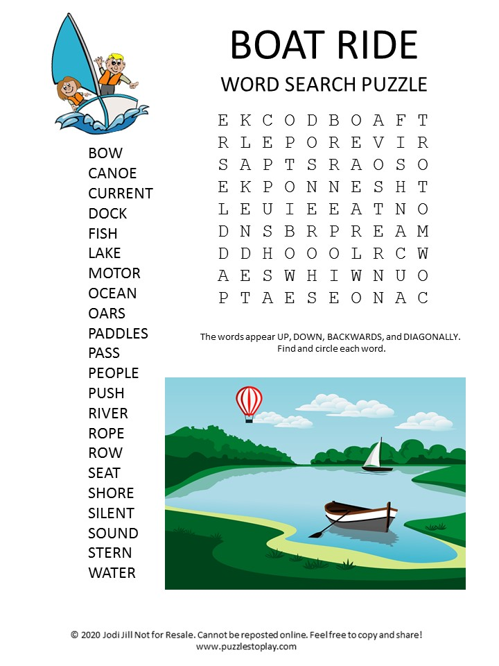 boat ride word search puzzle