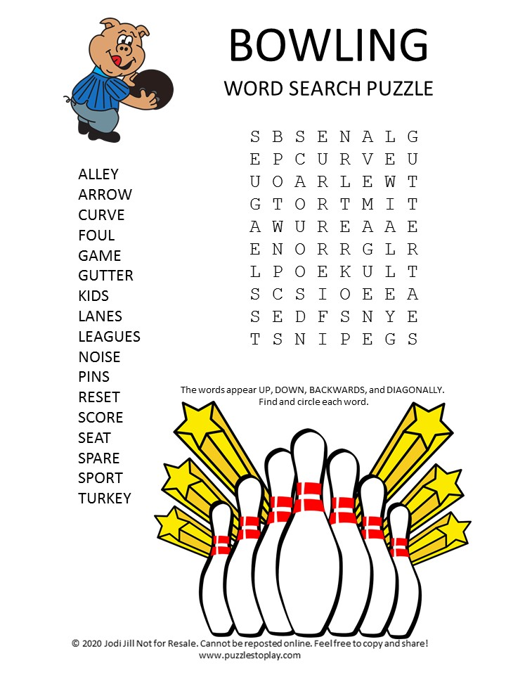 bowling word search puzzle