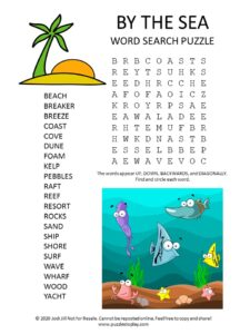 by the sea word search puzzle