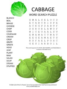 cabbage word search puzzle