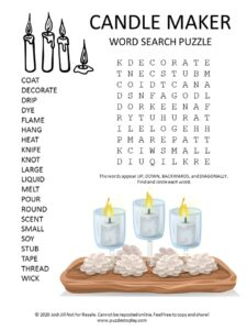 candle maker word search puzzle