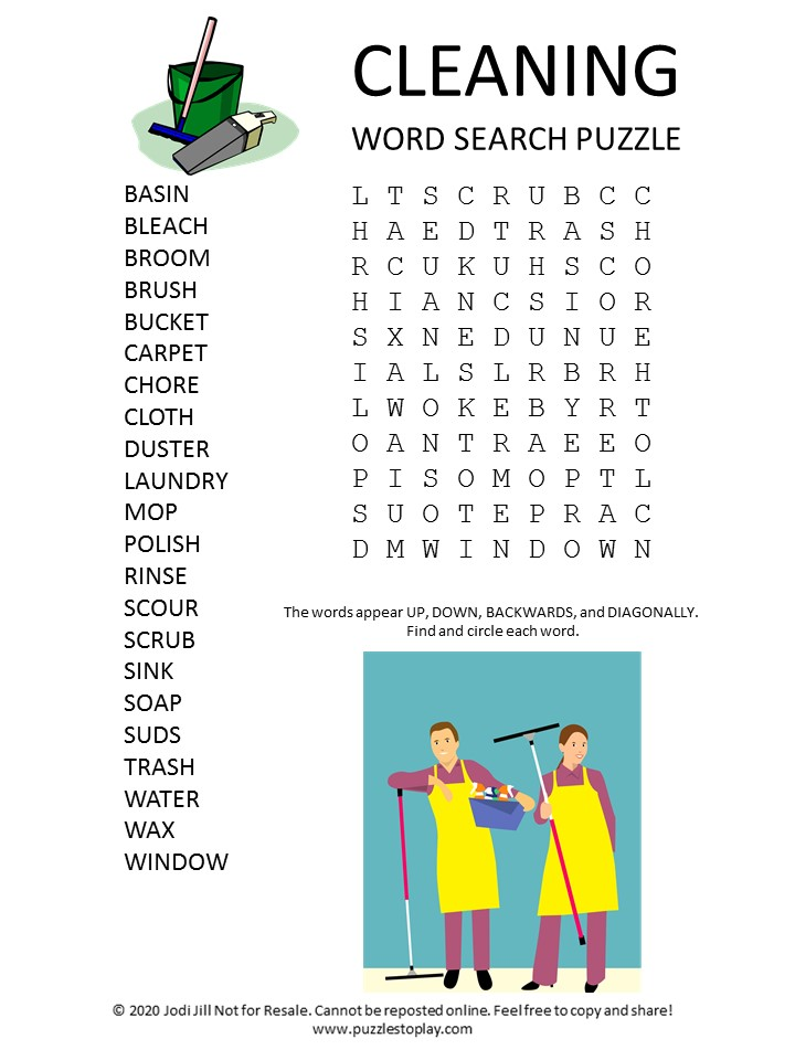 cleaning word search puzzle