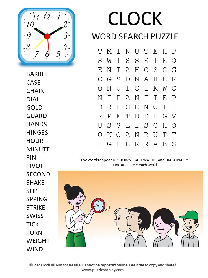 clock word search puzzle