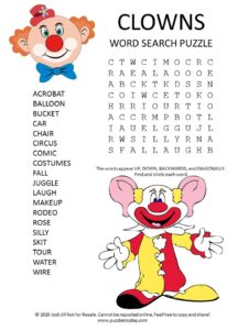 clowns word search puzzle