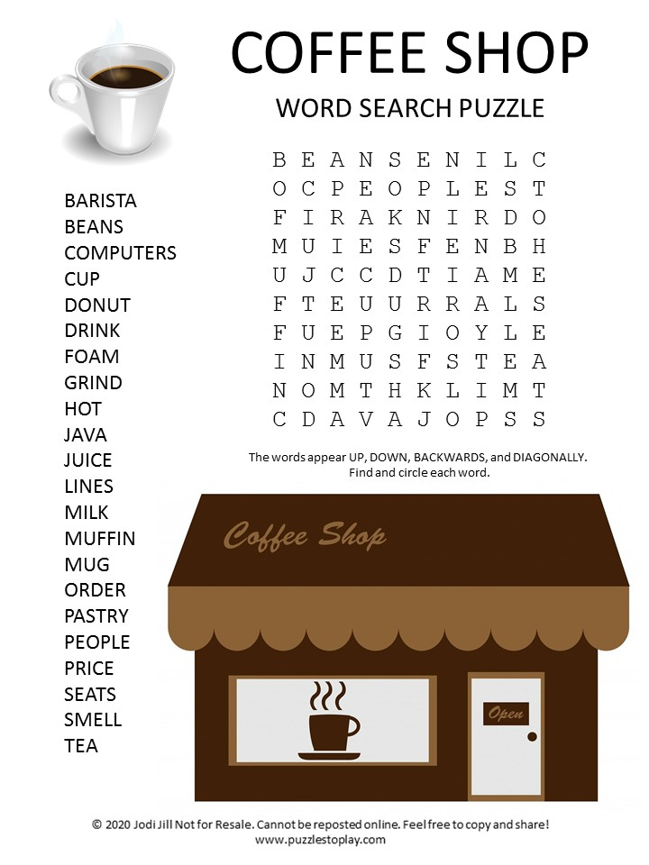coffee shop word search puzzle