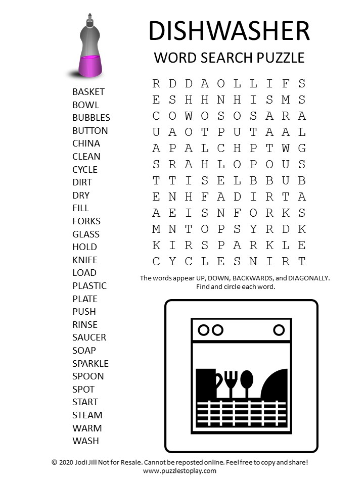 dishwasher word search puzzle