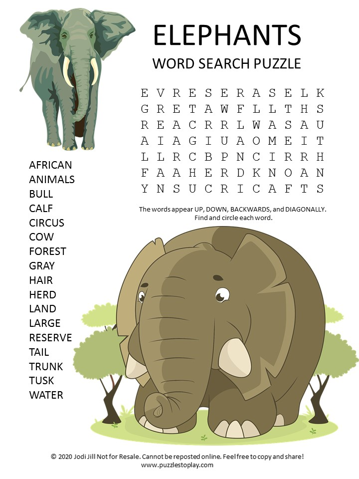 elephants word search puzzle