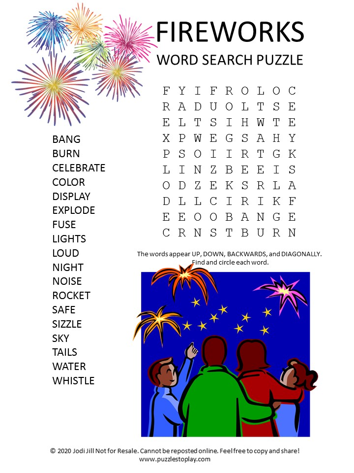 fireworks word search puzzle