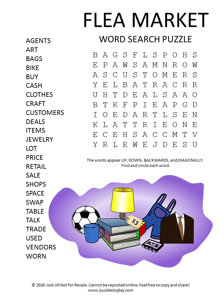 flea market word search puzzle