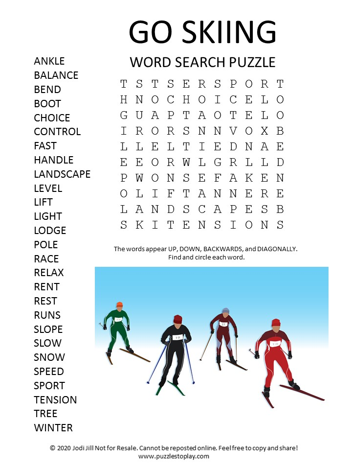 go skiing word search puzzle