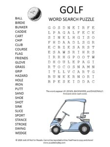 golf word search puzzle