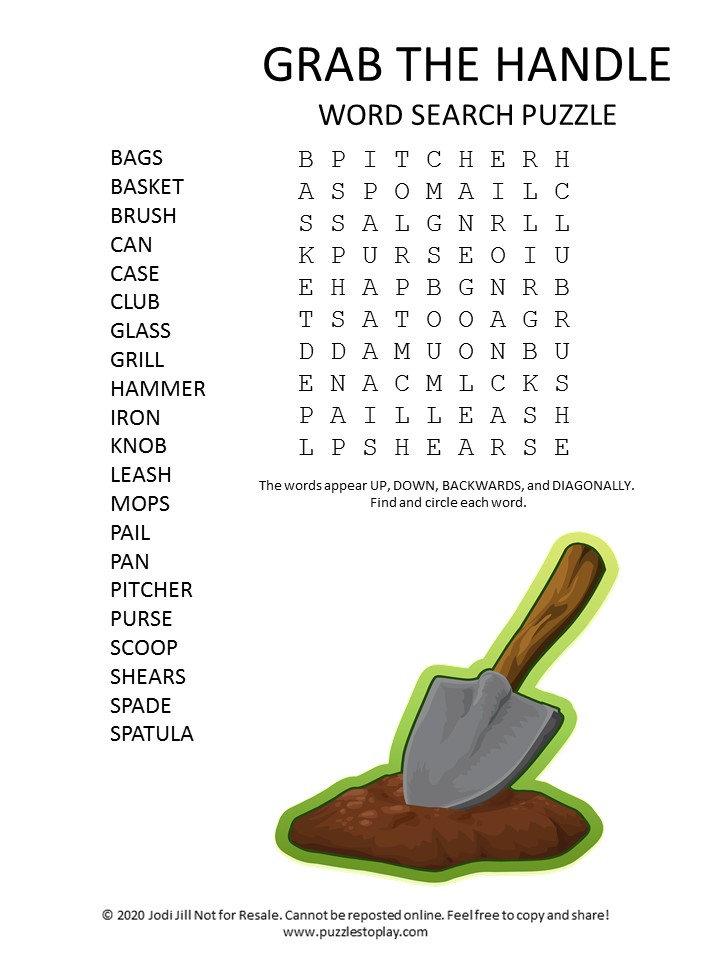 handle word search puzzle