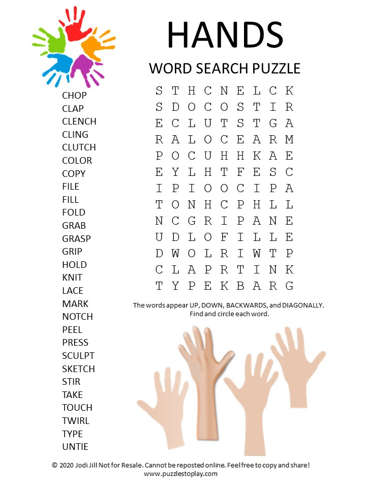 hands word search puzzle