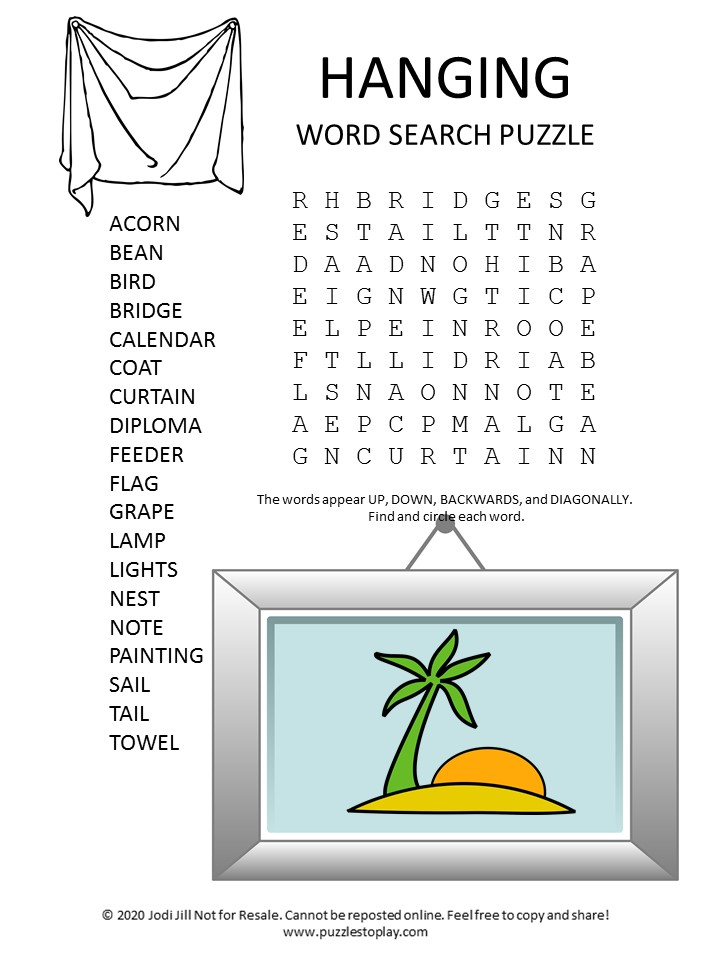 hanging word search puzzle