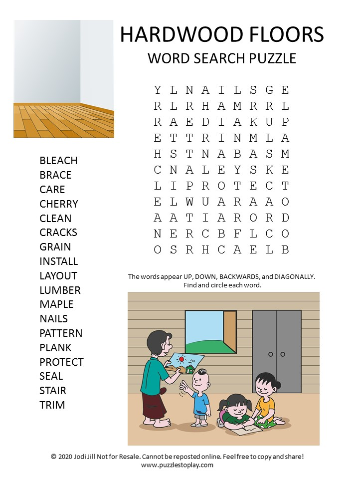 hardwood floors word search puzzle