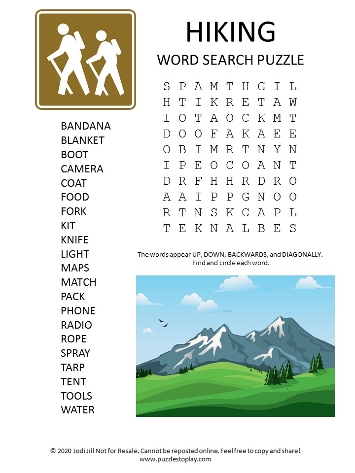hiking word search puzzle