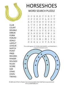 horseshoes word search puzzle