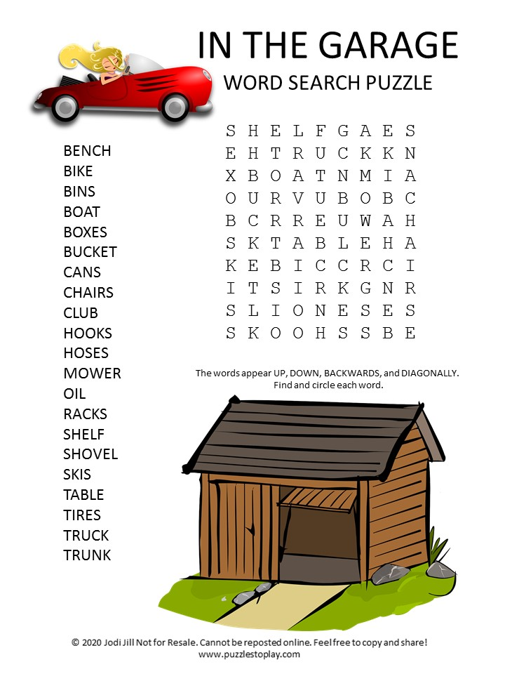 in the garage word search puzzle