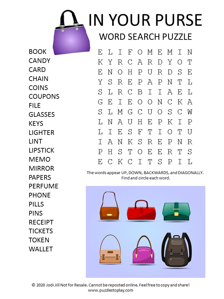 in your purse word search puzzle