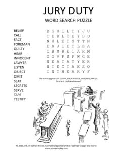 jury duty word search puzzle