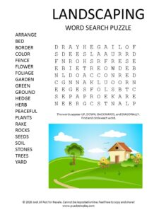 landscaping word search puzzle