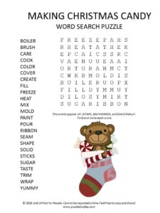 making christmas candy word search puzzle